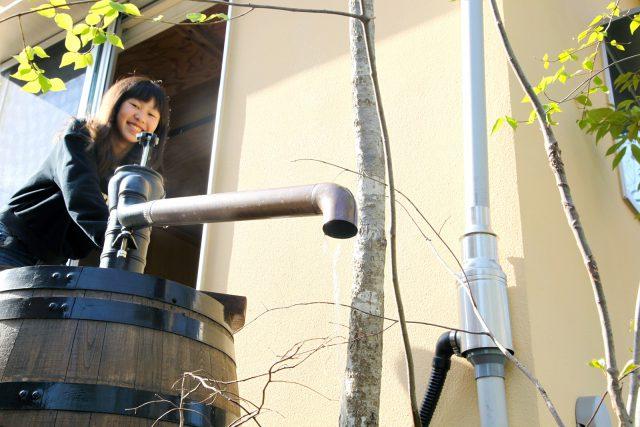 庭にはポンプ式の 雨水タンク♪