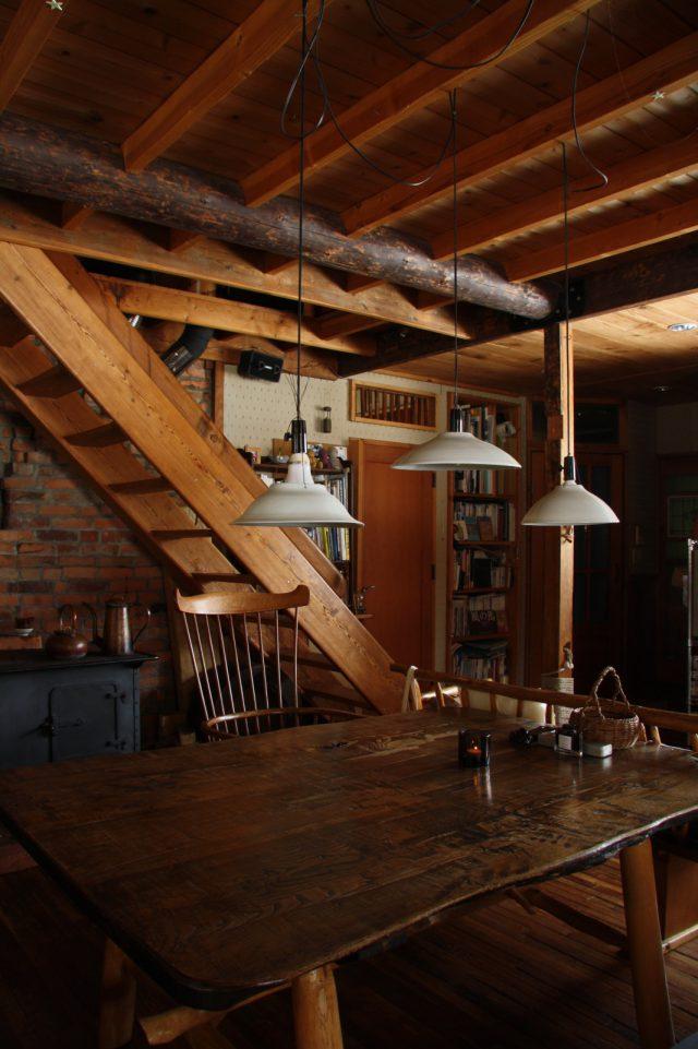 テーブルや椅子、薪ストーブや銅製の薬罐も両親の作家仲間がつくってくれたもの