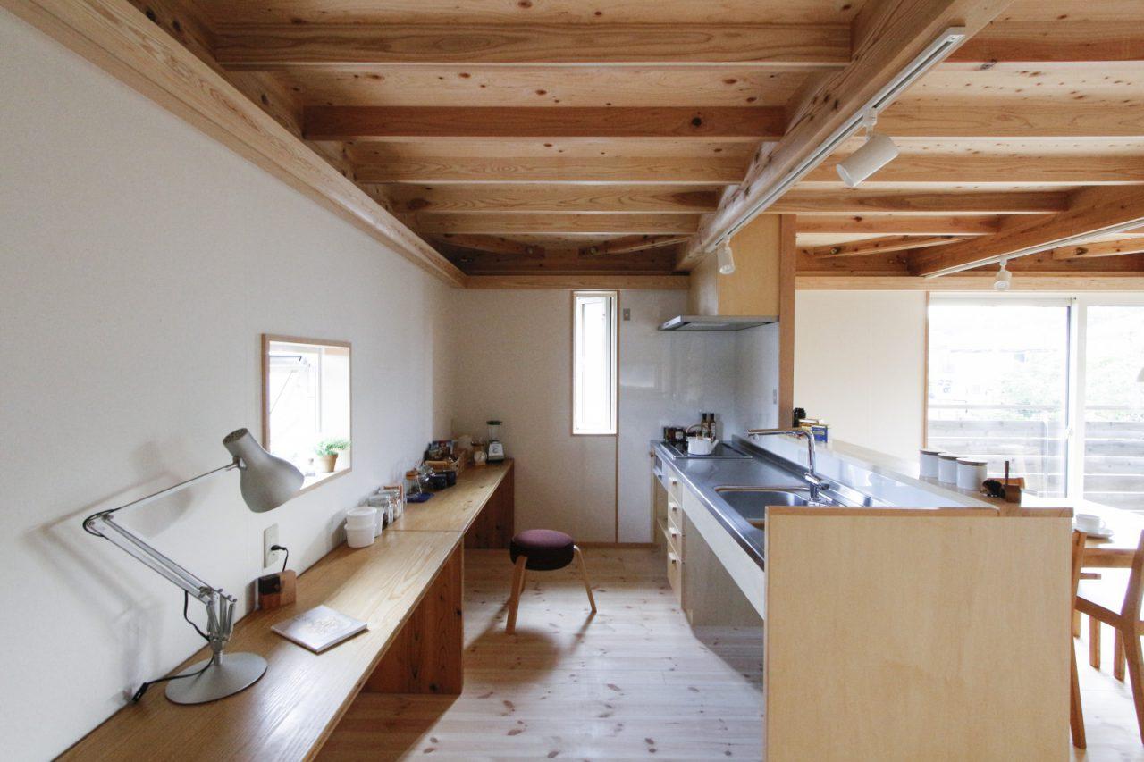 大工さんと建具屋さんがつくるキッチン。収納や建具は設置していないため「大工の手」テーブル(KM .26 / ita-awase table)を置いています。