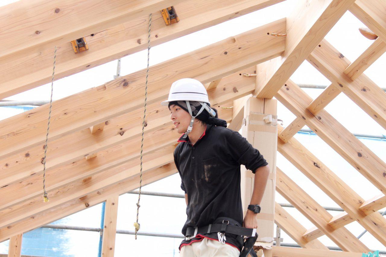 つむじ「3階建てドミノ住宅」上棟時の様子(加瀬大工)