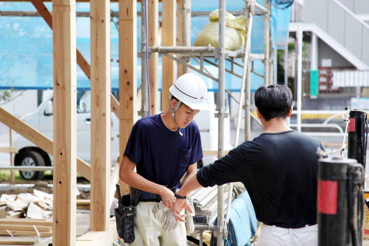 つむじ「3階建てドミノ住宅」上棟時の様子(長井大工)
