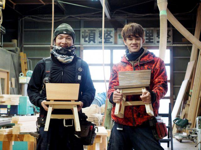 二人が自身で制作したこども椅子