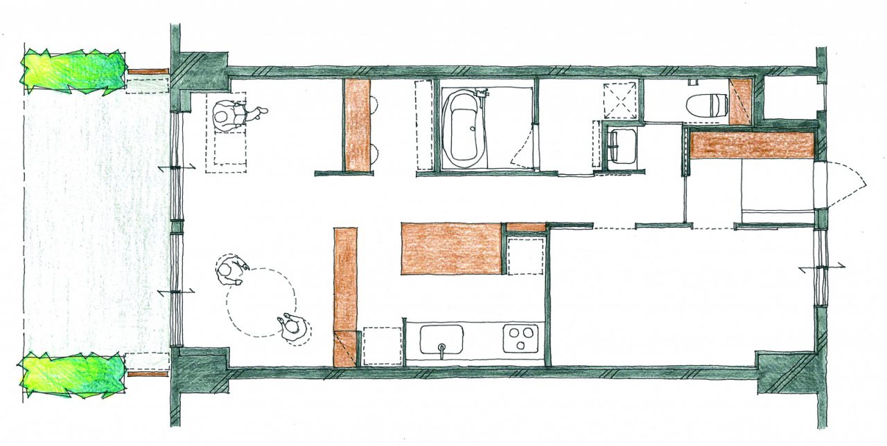 AFTER :3DKから1LDK+ワークスペースに。空間を大きくとり、視線を遮らない低い家具で居場所を緩やかに仕切ることで無駄なく広々と使えるように。