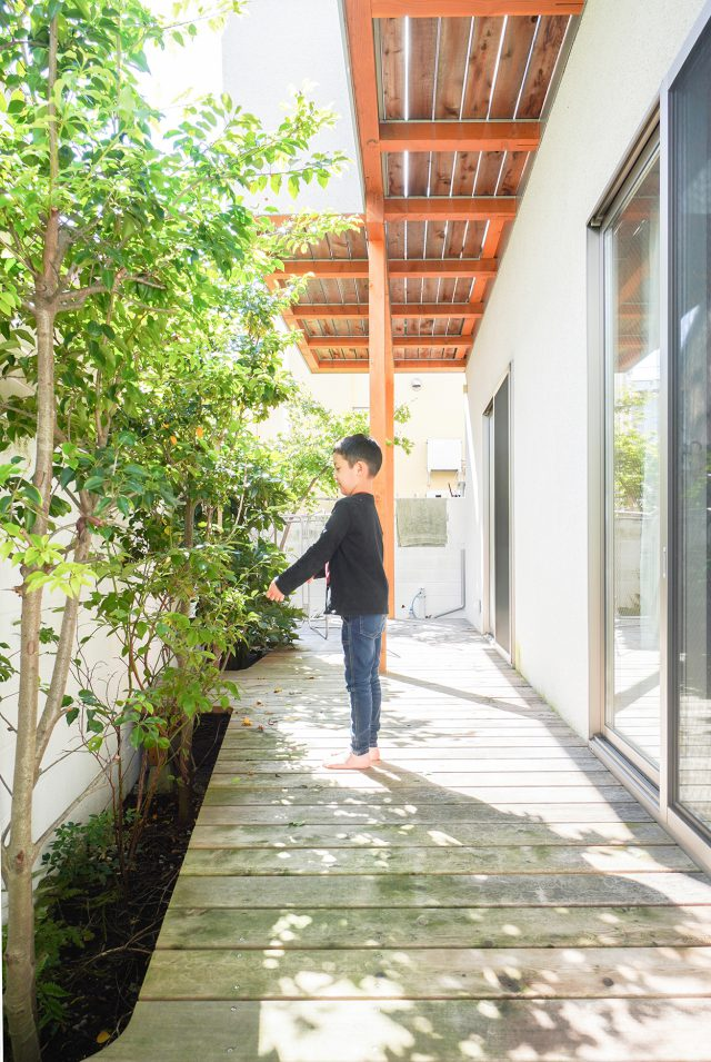 エントランスから庭まで木や草花が植えられ、白い外壁に映えます。