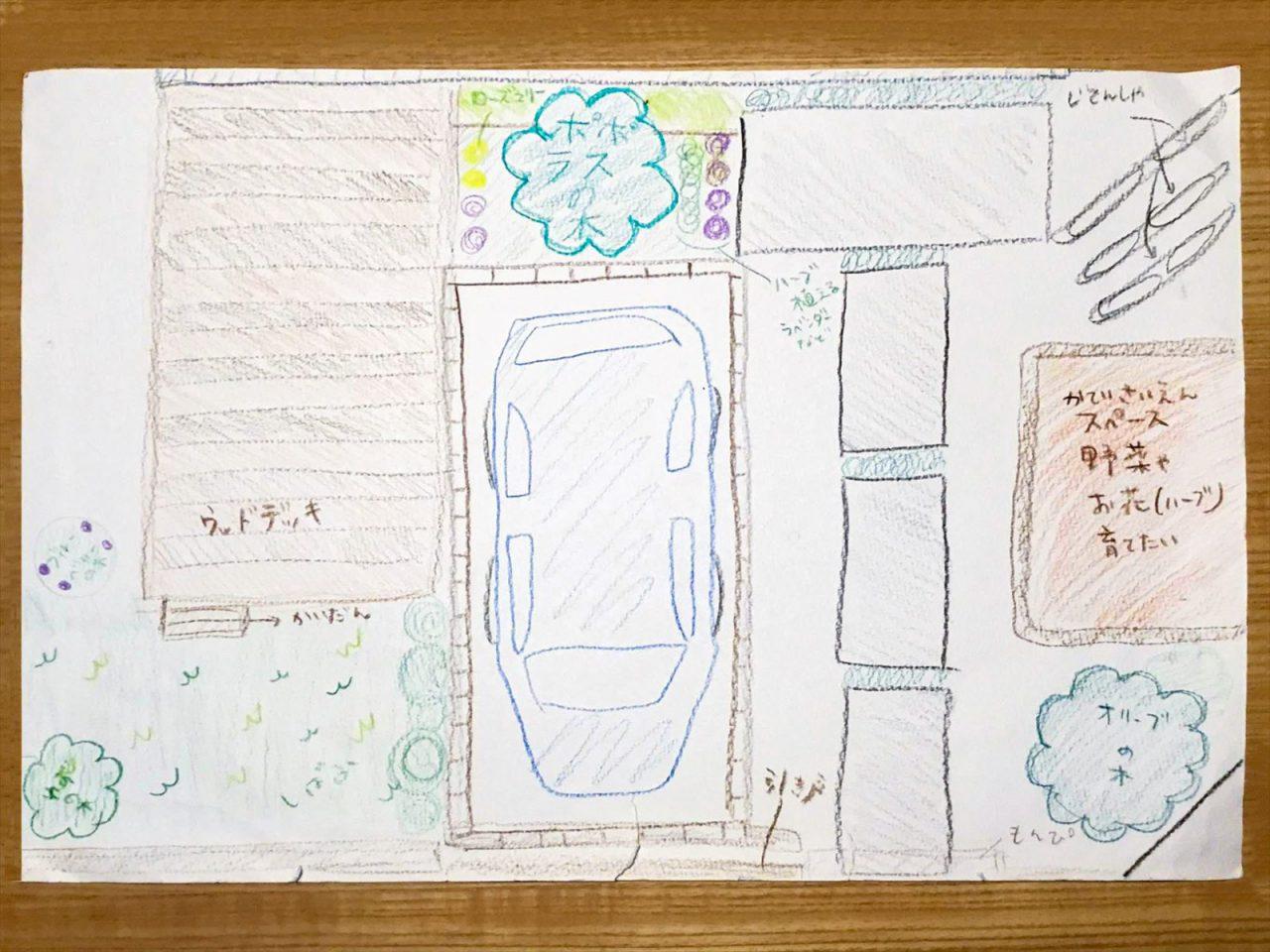 娘さんが小学生の頃に描いた庭のスケッチ。