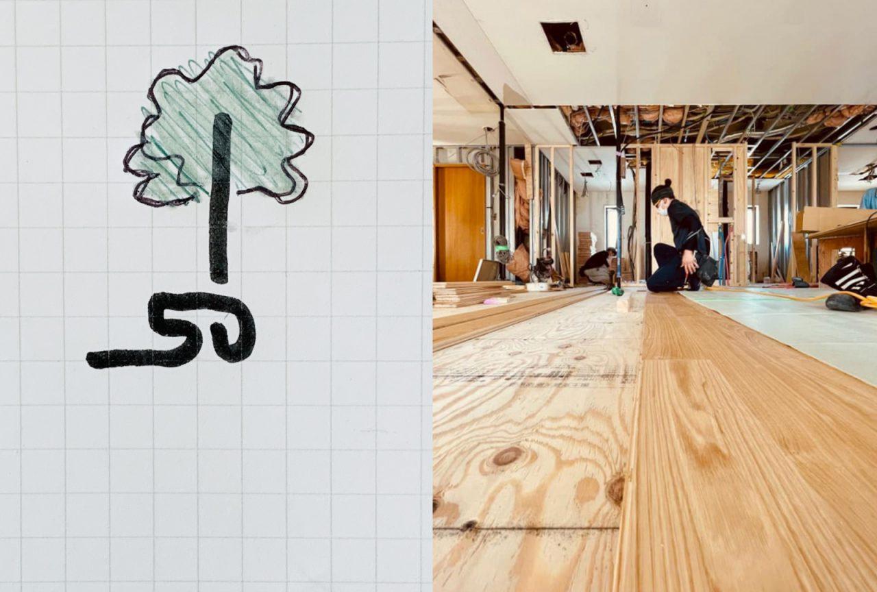 小泉さんから届いた素案「50の木」。右は本社リノベ工事中の志村飛鳥大工。登米森林組合のクリの木をはっています。
