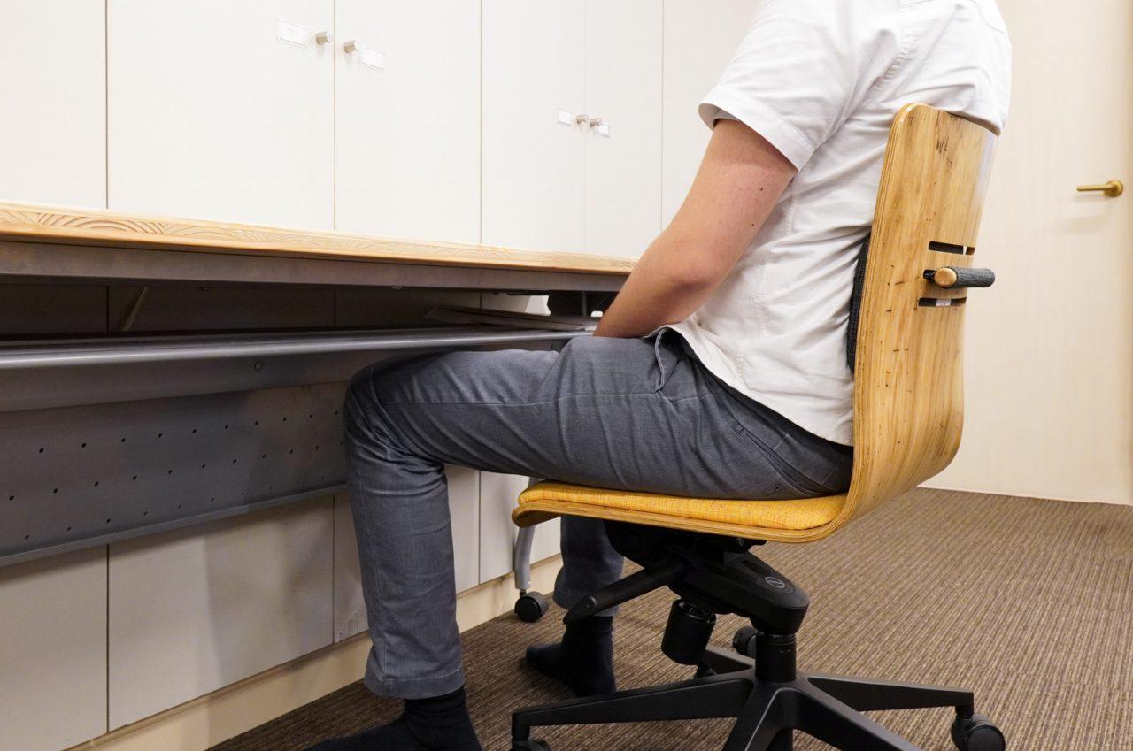 座面と背当てのクッションには耐久性の高い布地を採用し、背当てのクッションは3段階で高さ調整ができます。脚部のノブでリクライニングの具合も調整できます。