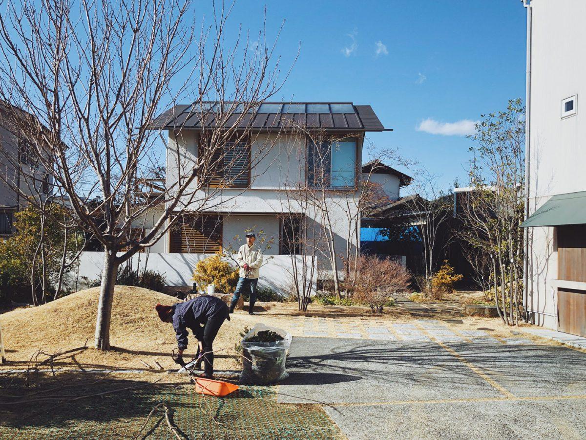 2月はじめ、葉を落としたつむじの木々のお手入れをする小林賢二さんと長野谷さん。