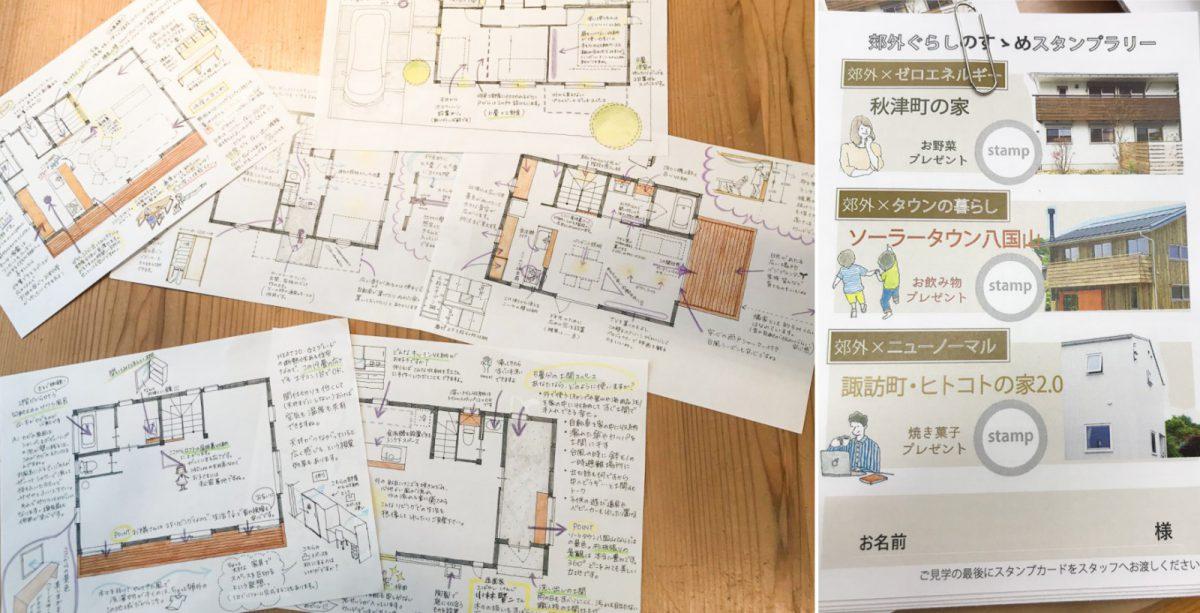 ainoha「つむじ通信」でおなじみ、あいばこ布施がお手製で描き起こした3つの建物の見どころマップも必見!それぞれの建物でスタンプカードも集めてくださいね