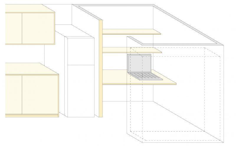 キッチン脇のこもれるワークスペース(2階)