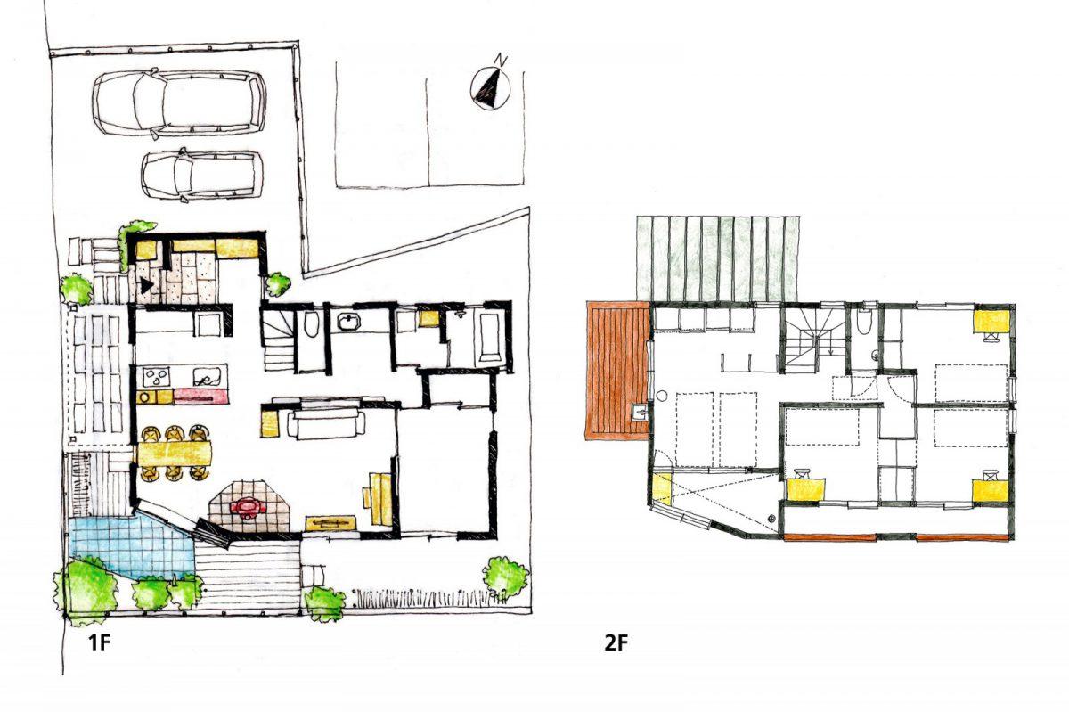 1階床面積:76.82㎡ 2階床面積:52.17㎡ 延床面積:128.99㎡(39坪)