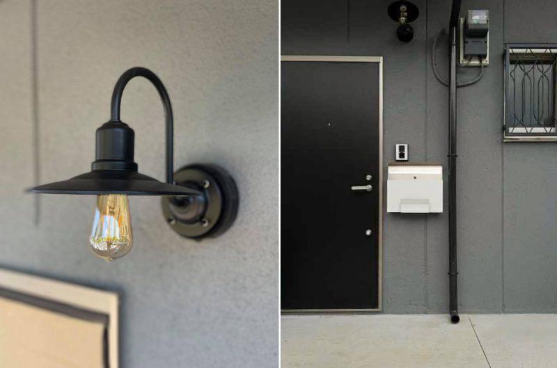 外壁はグレーに塗り替えられ、照明とあわせてシックな雰囲気に。扉は木張りになる予定。