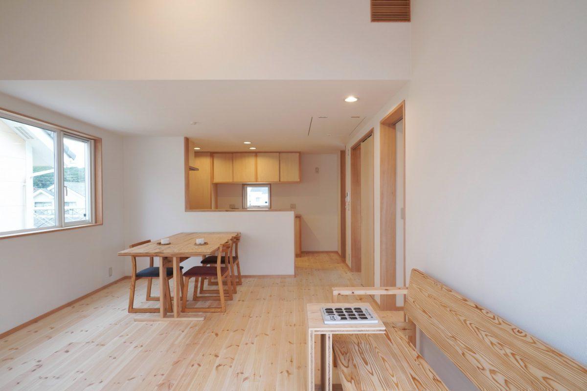二階リビング。無垢のパイン材の床、壁は珪藻土をふくんだクロスを採用。小屋裏に全熱交換換気システム「PAtH」を設置して全館空調を行なっている
